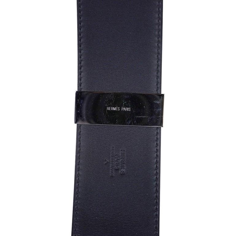 Hermes Collier De Chien Belt Black Porosus Crocodile Palladium 90 New For Sale 7
