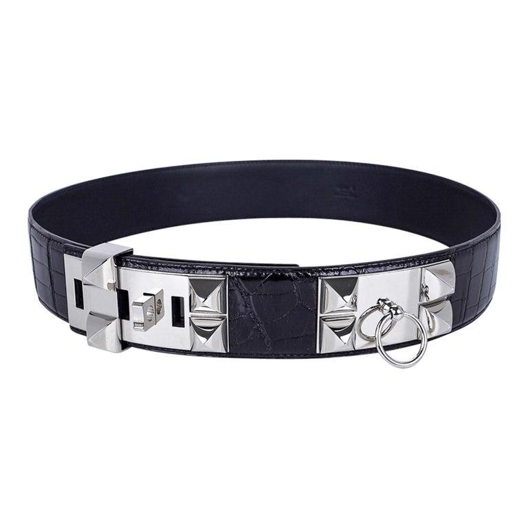 Hermes Collier De Chien Belt Black Porosus Crocodile Palladium 90 New In New Condition For Sale In Miami, FL