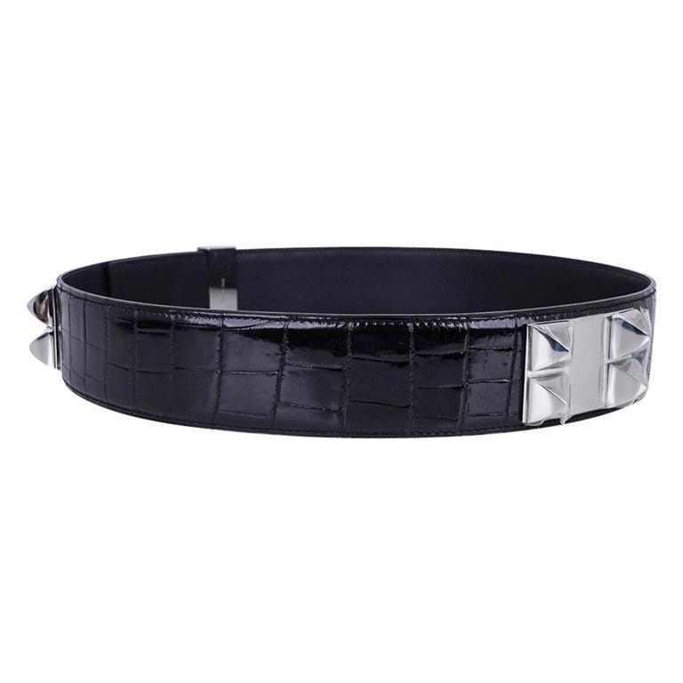 Hermes Collier De Chien Belt Black Porosus Crocodile Palladium 90 New For Sale 1