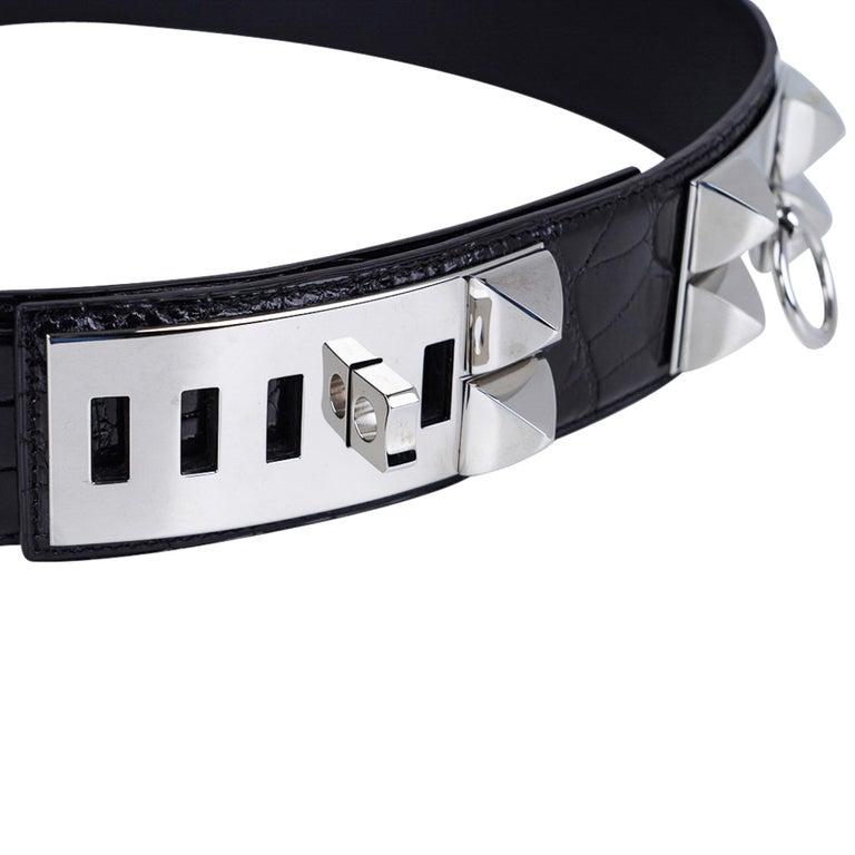 Hermes Collier De Chien Belt Black Porosus Crocodile Palladium 90 New For Sale 2