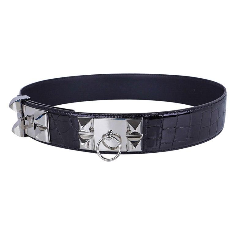 Hermes Collier De Chien Belt Black Porosus Crocodile Palladium 90 New For Sale 3