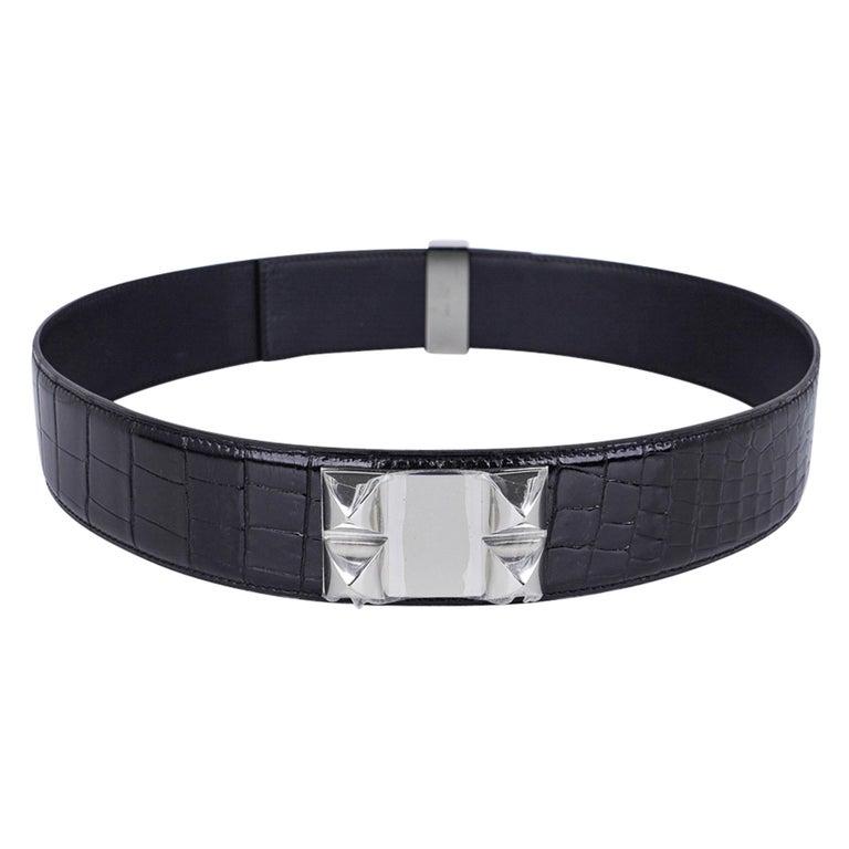 Hermes Collier De Chien Belt Black Porosus Crocodile Palladium 90 New For Sale 4