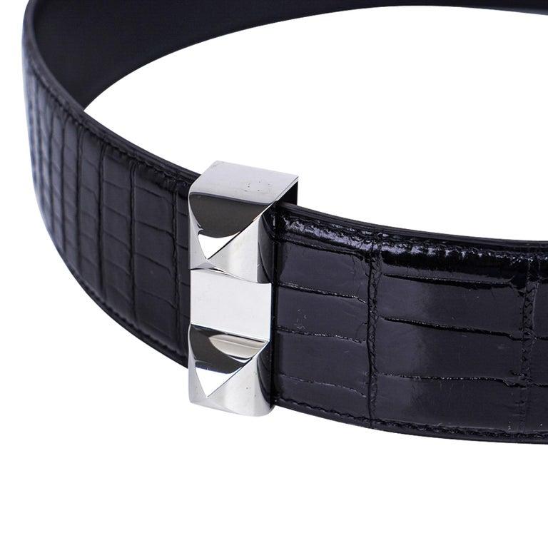 Hermes Collier De Chien Belt Black Porosus Crocodile Palladium 90 New For Sale 5