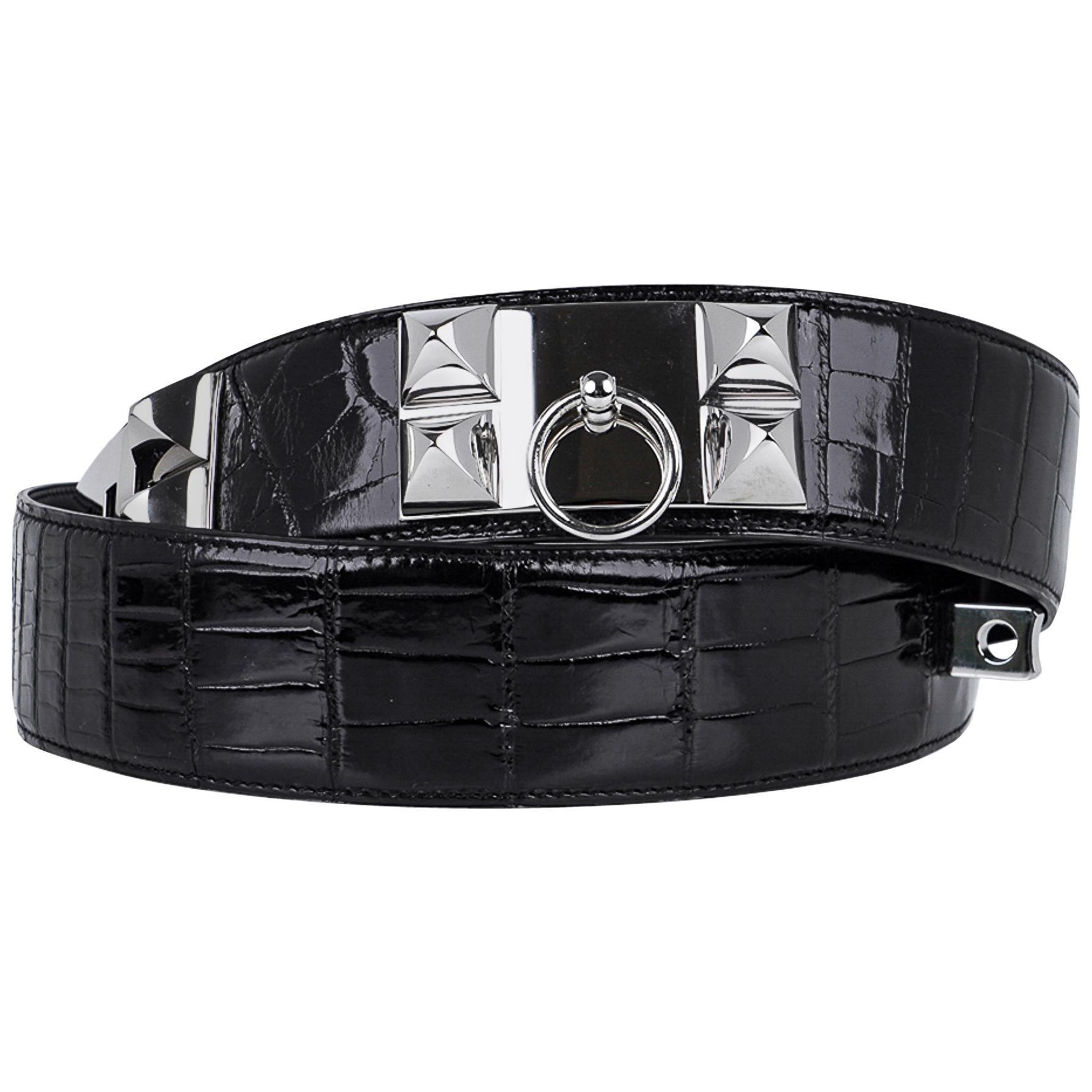Hermes Collier De Chien Belt Black Porosus Crocodile Palladium 90 New