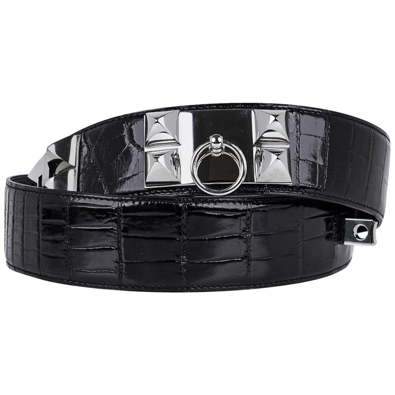 Hermes Collier De Chien Belt Black Porosus Crocodile Palladium 90 New For Sale