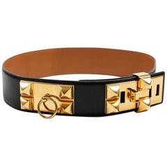 HERMES Collier de Chien Belt in Black Box Leather Size 75