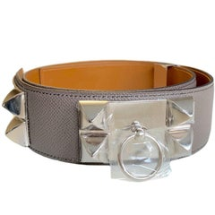 HERMES Collier de Chien Belt in Tin Color Epsom Leather Size 85