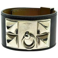 Hermès Collier de Chien Bracelet in Box Calfskin, Pyramid Studs