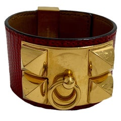 HERMES Collier de Chien Bracelet in Red Lizard