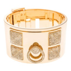 Hermès Collier de Chien Diamond 18k Rose Gold Large Cuff Bracelet