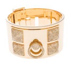 Hermès Collier de Chien Diamond 18k Rose Gold Large Cuff Bracelet