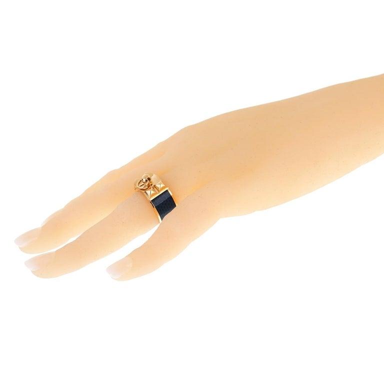 Women's Hermes Collier De Chien Gold Blue Enamel Ring For Sale