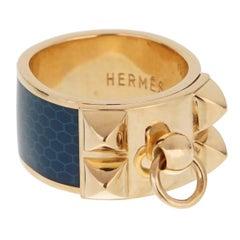Hermes Collier De Chien Gold Blue Enamel Ring