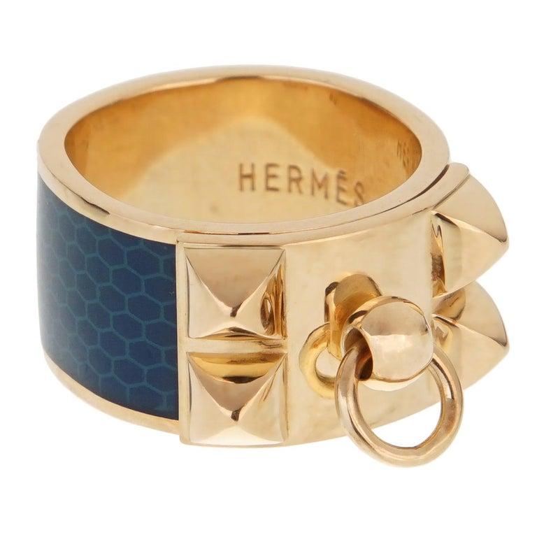 Hermes Collier De Chien Gold Blue Enamel Ring For Sale