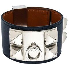 Hermes Collier De Chien Graphite Leather Palladium Plated Cuff Bracelet S