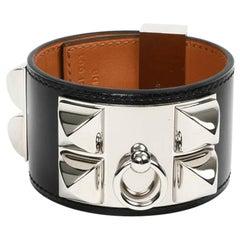 HERMES Collier De Chien Leather Box Cuff