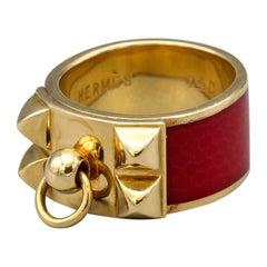 Hermes Collier de Chien Red Enamel 18k Gold Ring