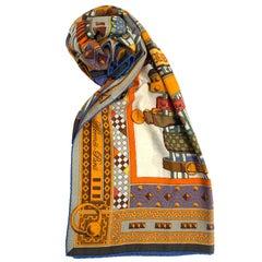 HERMES Collier de Chien Schal aus orangefarbenem Kaschmir und Seide
