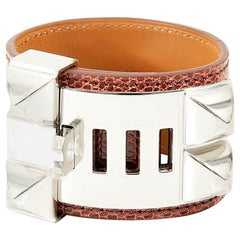 "HERMES  ""Collier de Chien"" Silver and lizard"