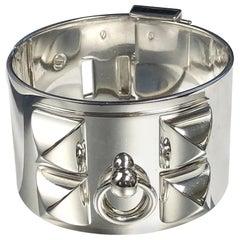 Hermès Collier de Chien Sterling Silver Large and Heavy Bangle Bracelet