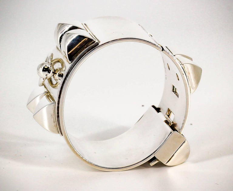 Women's Hermes Collier de Chien Sterling Silver Large Studded Bracelet For Sale