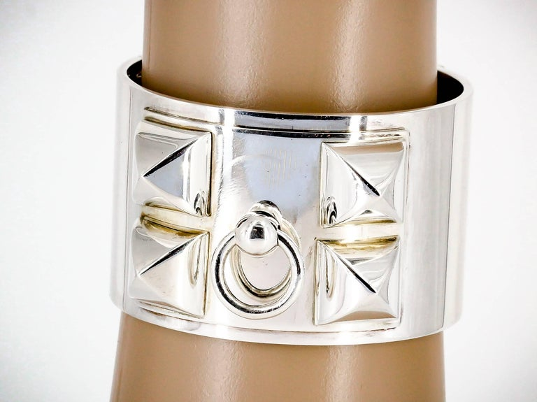 Hermes Collier de Chien Sterling Silver Large Studded Bracelet For Sale 2