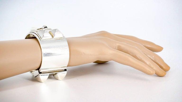 Hermes Collier de Chien Sterling Silver Large Studded Bracelet For Sale 3