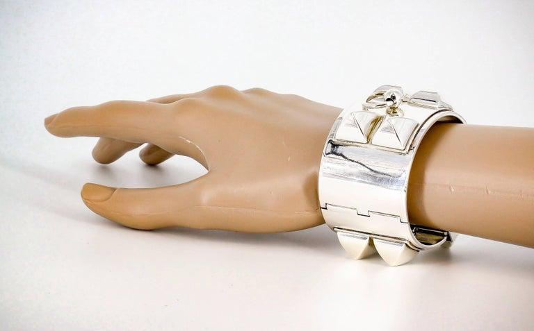 Hermes Collier de Chien Sterling Silver Large Studded Bracelet For Sale 4
