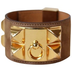 Hermès Collier de Chien Suede Bracelet With GHW