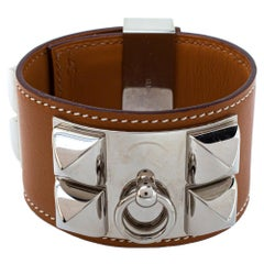 Hermès Collier de Chien Tan Brown Leather Cuff Bracelet