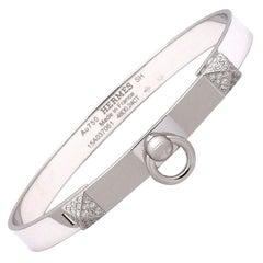 Hermes 'Collier De Chien' White Gold Bracelet, Small Model