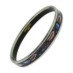 Hermès Colorful Black Pink and Blue Printed Enamel Narrow Thin Bracelet