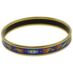 Hermès Colorful Blue Orange Brazil Printed Enamel Narrow Thin Gold Bracelet