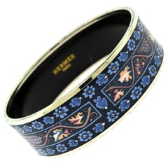 Hermès Colorful Patterned Wide Bangle Bracelet, Printed Color Blue Enamel