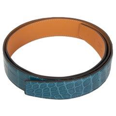 HERMES Colvert blue SHINY PRORSUS CROCODILE 32mm Belt Strap 90