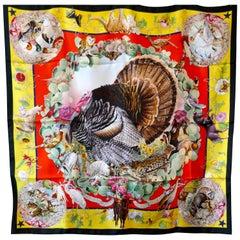 """Hermes Commemorative Silk Scarf """"Faune et Florre du Texas"""" by Kermit Oliver 1987"""