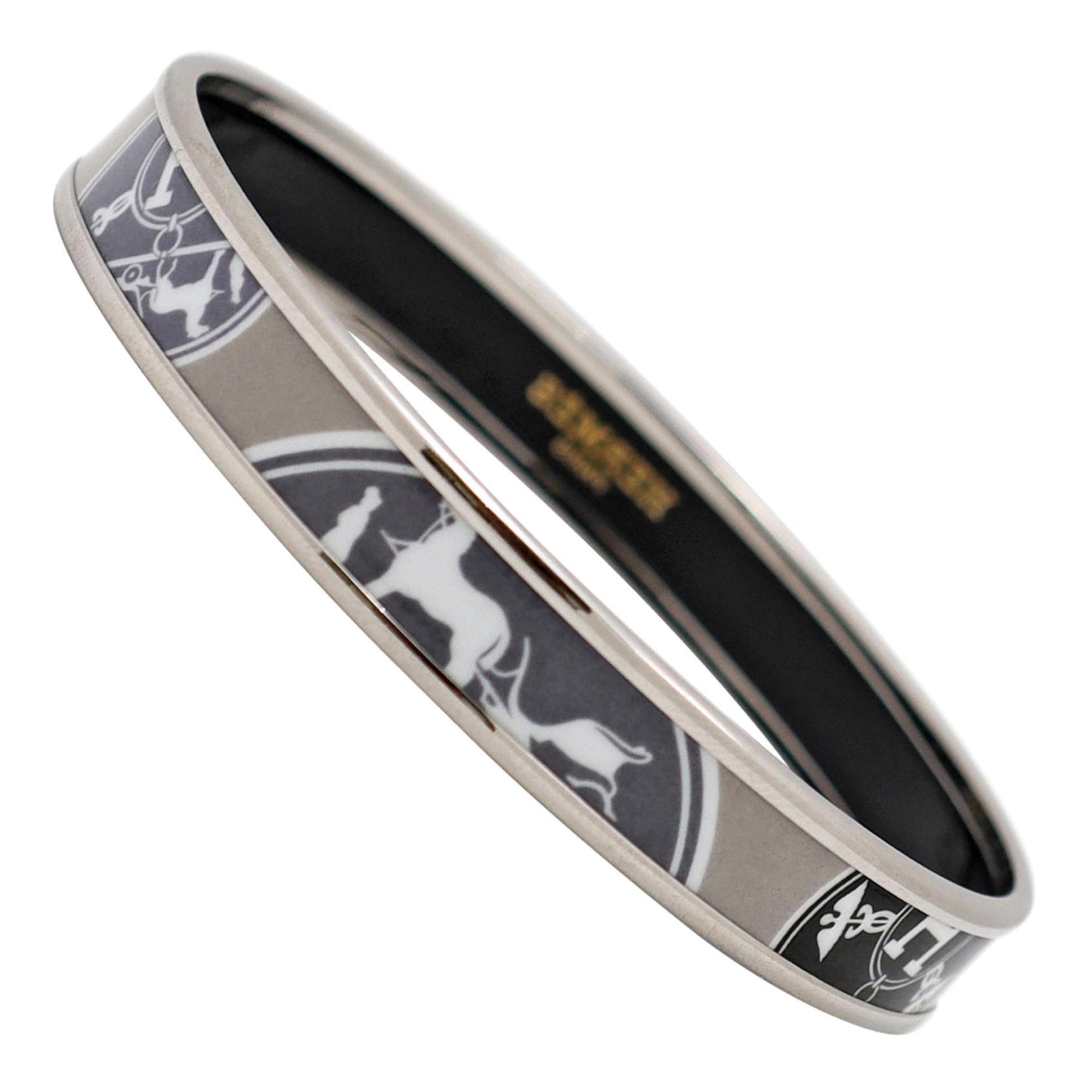 Hermès 'Confettis D'Ex Libris' Enamel Bangle Bracelet