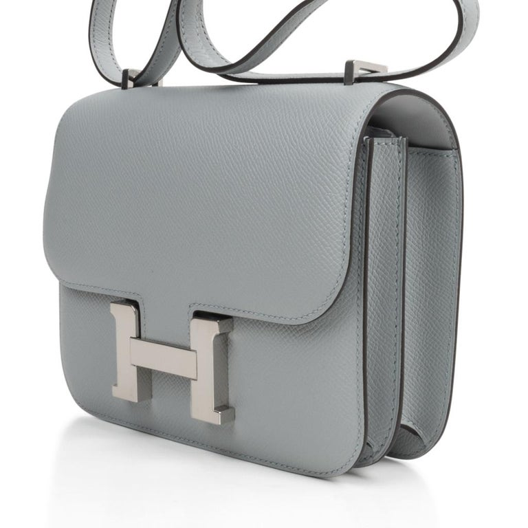 Hermes Constance 18 Bag Blue Glacier Epsom Palladium Hardware New In New Condition For Sale In Miami, FL