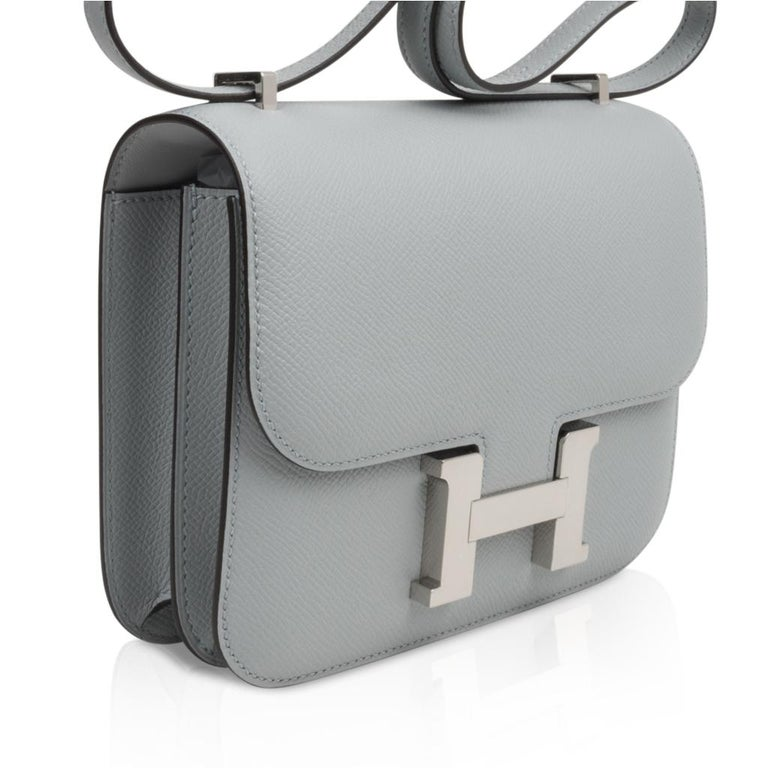 Hermes Constance 18 Bag Blue Glacier Epsom Palladium Hardware New For Sale 4