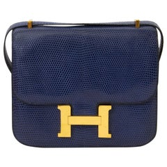 Hermès Constance 18 Lezard Bleu Saphir GHW