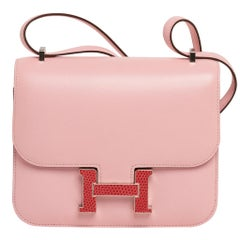 Hermes Constance 18 Mini Bag Rose Sakura Tadelakt Bougainvillea Lizard Buckle