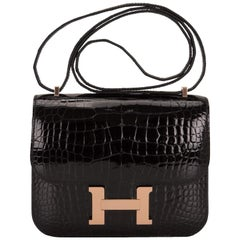 Hermes Constance 18cm Black Alligator Rose Gold C Collection
