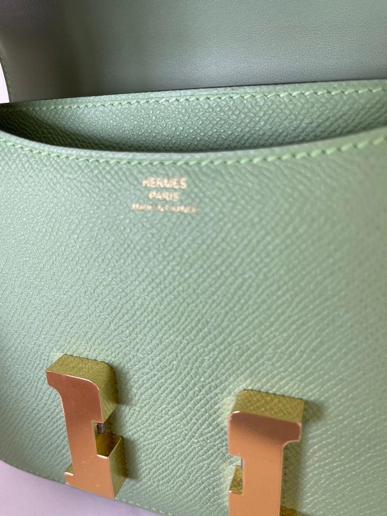 Gray Hermes Constance 18cm Criquet  Epsom Gold Hardware Bag For Sale