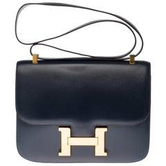 Hermes Constance 23 shoulder bag in navy blue box calfskin with gold hardware !