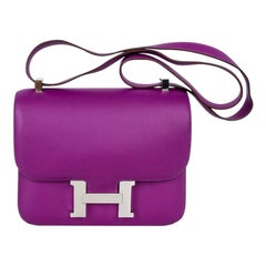 Hermes Constance 24 Bag Purple Anemone Swift Palladium Hardware New w/Box