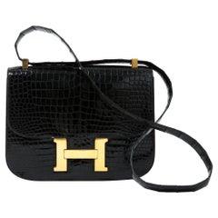 Hermes Constance 24 Black Crocodile leather Bag