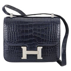 Hermès Constance 24 Blue Marine Alligator Mississippi Matte PHW