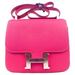 Hermes Constance 24 Rose Tyrien Pink Epsom Palladium Hardware