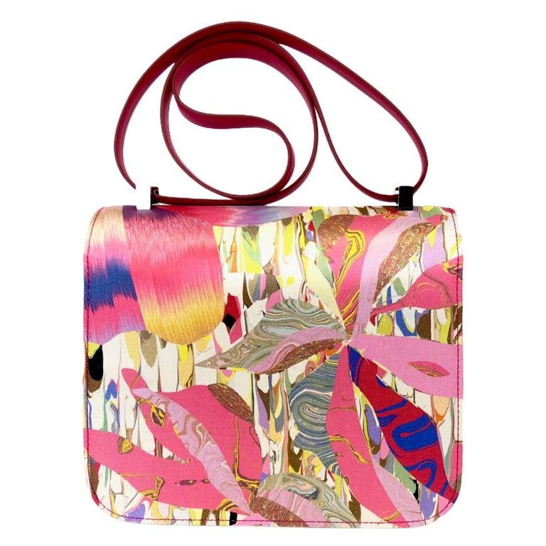 """1stdibs Exclusives Hermès Constance 24cm """"Marble"""" Silk Palladium Hardware 1"""