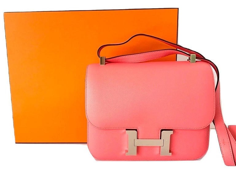 Hermes Constance 24cm Rose Azalee Pink Palladium In New Condition In Delray Beach, FL